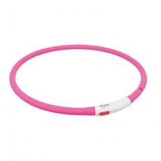 Flash USB svítící obojek XS-XL 70 cm / 10 mm,  - růžová (RP 2,10 Kč)
