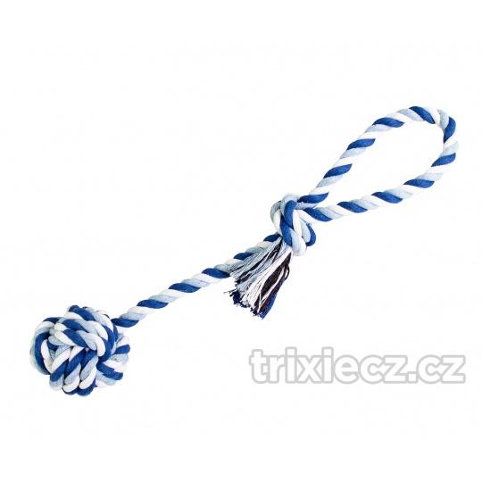 HipHop Preťahovadlo bavlnená lopta 7 cm, 38 cm / 130 g tm.modrá, sv.modrá, biela